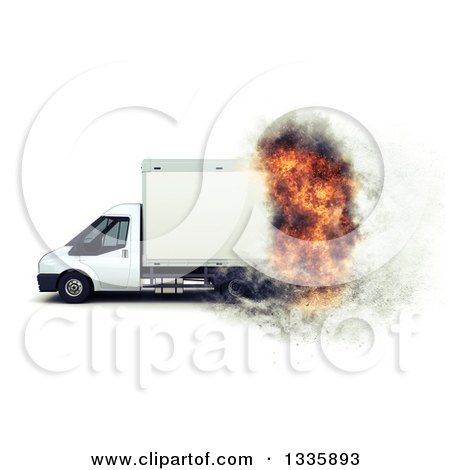 Clipart of a 3d Delivery or Moving Van with a Fiery Speed Effect, on White - Royalty Free Illustration by KJ Pargeter
