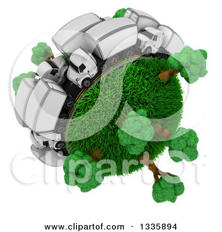 Clipart of a 3d Busy Roadway with Big Rig Trucks Around a Grassy Planet with Trees, on White - Royalty Free Illustration by KJ Pargeter