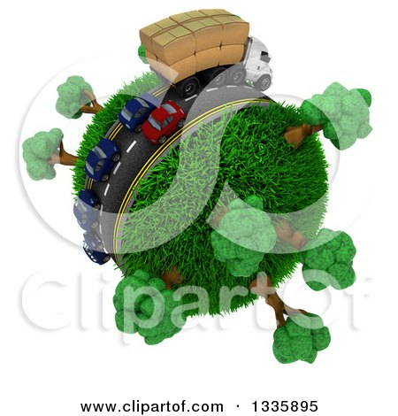Clipart of a 3d Roadway with a Big Rig Truck Transporting Boxes, and Cars Driving Around a Grassy Planet with Trees, on White - Royalty Free Illustration by KJ Pargeter