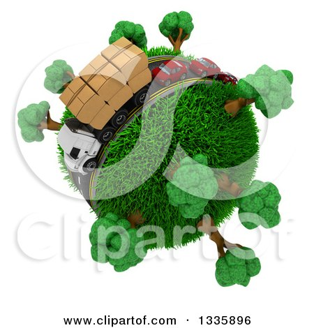 Clipart of a 3d Roadway with a Big Rig Truck Transporting Boxes, and Cars Driving Around a Grassy Planet with Trees, on White 2 - Royalty Free Illustration by KJ Pargeter