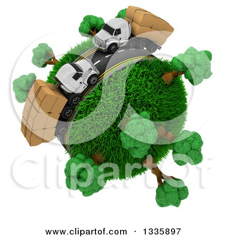 Clipart of a 3d Roadway with Big Rig Trucks Transporting Boxes, Driving Around a Grassy Planet with Trees, on White - Royalty Free Illustration by KJ Pargeter