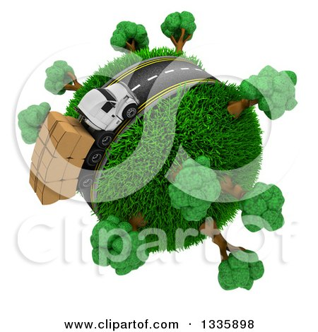 Clipart of a 3d Roadway with a Big Rig Truck Transporting Boxes, Driving Around a Grassy Planet with Trees, on White - Royalty Free Illustration by KJ Pargeter