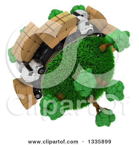 Clipart of a 3d Roadway with Big Rig Trucks Transporting Boxes, Driving Around a Grassy Planet with Trees, on White 2 - Royalty Free Illustration by KJ Pargeter