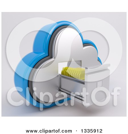 Clipart of a 3d Cloud Icon with Folders in a Filing Cabinet, on off White - Royalty Free Illustration by KJ Pargeter