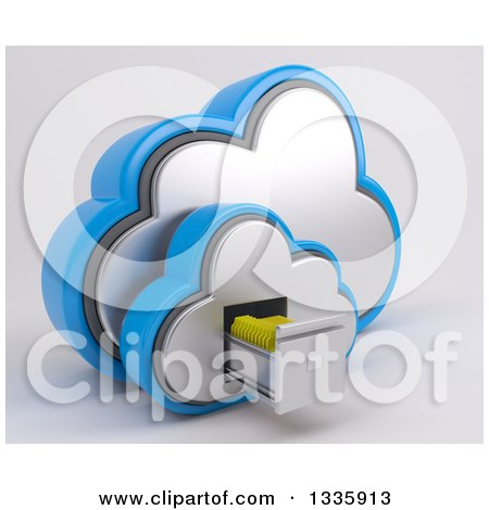 Clipart of a 3d Cloud Icon with Folders in a Filing Cabinet, on off White 2 - Royalty Free Illustration by KJ Pargeter