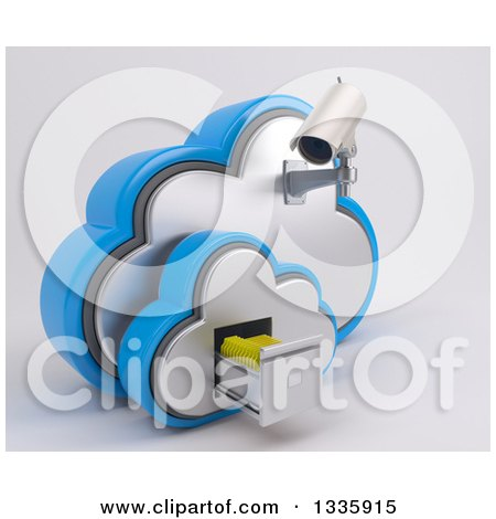 Clipart of a 3d White HD CCTV Security Surveillance Camera Mounted on Cloud Icon with Folders in a Filing Cabinet, on off White - Royalty Free Illustration by KJ Pargeter