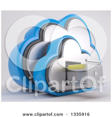 Clipart of a 3d Cloud Icon with Folders in a Filing Cabinet, on off White 4 - Royalty Free Illustration by KJ Pargeter