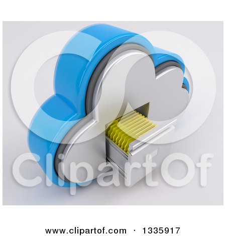 Clipart of a 3d Cloud Icon with Folders in a Filing Cabinet, on off White 3 - Royalty Free Illustration by KJ Pargeter