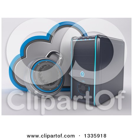 Clipart of a 3d Pc Desktop Computer Tower and Cloud Security with a Padlock, on Shading - Royalty Free Illustration by KJ Pargeter