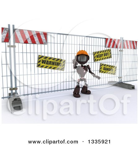Clipart of a 3d Red Android Robot Construction Worker Gesturing to Stop in Front of a Barrier, on Shading - Royalty Free Illustration by KJ Pargeter