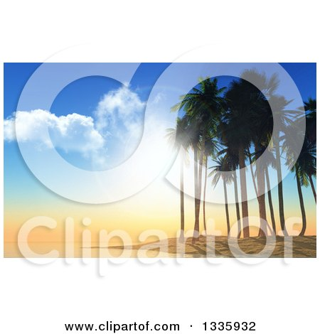 Clipart of a 3d Tropical Island Sunset or Sunrise with an Island and Silhouetted Palm Trees - Royalty Free Illustration by KJ Pargeter
