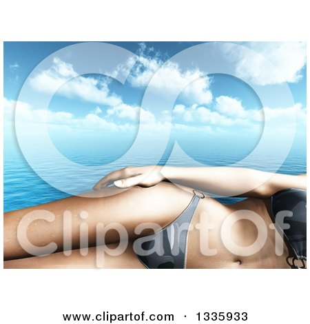 Clipart of a 3d Cropped Caucasian Woman in a Bikini, over the Ocean and Clouds - Royalty Free Illustration by KJ Pargeter