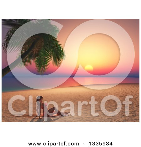 Clipart of a 3d Caucasian Woman in a Bikini, Sun Bathing on a Tropical Beach at Sunset - Royalty Free Illustration by KJ Pargeter