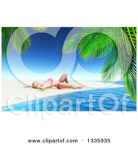 Clipart of a 3d Caucasian Woman in a Bikini, Sun Bathing on a Tropical Beach, Framed with Palm Branches - Royalty Free Illustration by KJ Pargeter