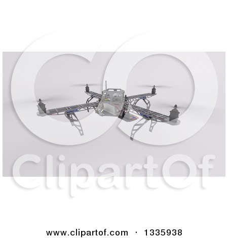 Clipart of a 3d Metal Quadcopter Drone on Shading - Royalty Free Illustration by KJ Pargeter