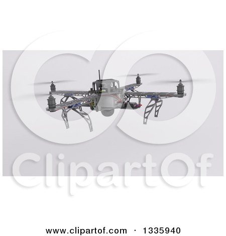 Clipart of a 3d Metal Quadcopter Drone on Shading 2 - Royalty Free Illustration by KJ Pargeter