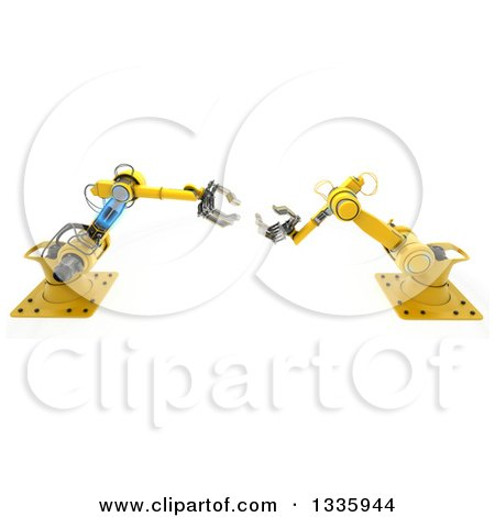 3d Yellow Industrial Robotic Arms, on White Posters, Art Prints