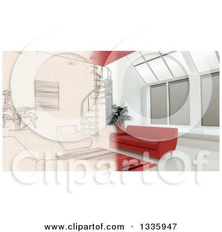 Clipart of a 3d Half Contemporary Living Room Interior and Half Sketched - Royalty Free Illustration by KJ Pargeter