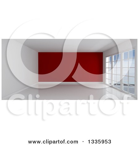 Clipart of a 3d Empty Room Interior with Floor to Ceiling Windows, White Flooring, and a Red Feature Wall - Royalty Free Illustration by KJ Pargeter