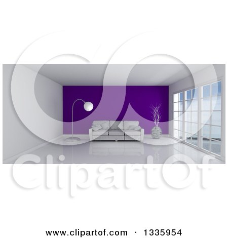 Clipart of a 3d White Room Interior with Floor to Ceiling Windows, a Purple Feature Wall and Furniture - Royalty Free Illustration by KJ Pargeter