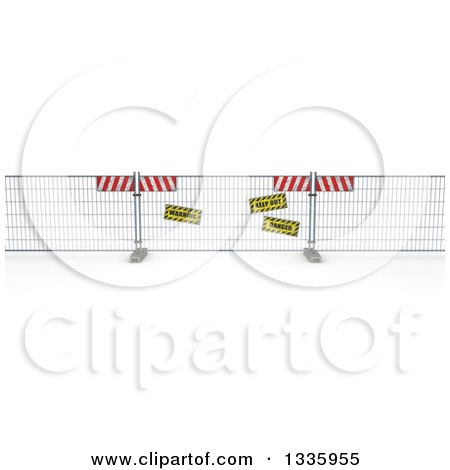 Clipart of a 3d Construction Barrier Fence with Signs on Shaded White - Royalty Free Illustration by KJ Pargeter