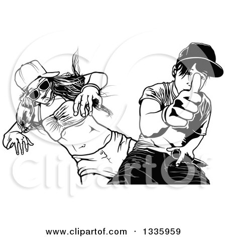 Clipart of a Black and White Young Couple Dancing and Giving a Thumb up - Royalty Free Vector Illustration by dero