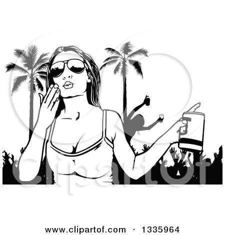 Black and White Woman Wearing Sunglasses, Holding a Beer and Blowing a Kiss over Spring Break Party People and Palm Trees Posters, Art Prints