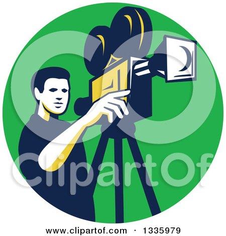 Clipart of a Retro Male Cameraman Filming in a Green Circle - Royalty Free Vector Illustration by patrimonio