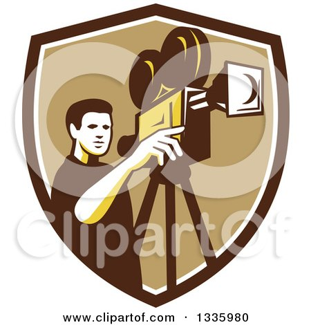 Clipart of a Retro Male Cameraman Filming in a Brown White and Tan Shield - Royalty Free Vector Illustration by patrimonio