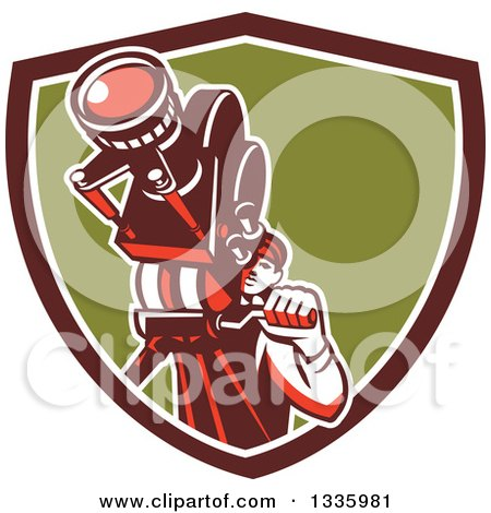 Clipart of a Retro Male Cameraman Filming in a Maroon White and Green Shield - Royalty Free Vector Illustration by patrimonio