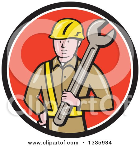 Clipart of a Cartoon White Male Construction Worker Holding a Giant Spanner Wrench Against His Shoulder in a Black White and Red Circle - Royalty Free Vector Illustration by patrimonio
