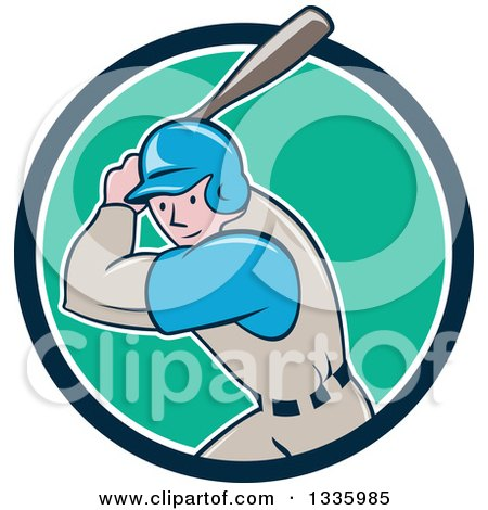 Clipart of a Cartoon White Male Baseball Player Athlete Batting in a Blue White and Turquoise Circle - Royalty Free Vector Illustration by patrimonio
