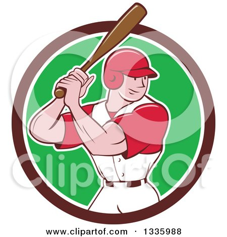 Clipart Of A Cartoon White Male Baseball Player Athlete Batting In A Brown White And Green Circle Royalty Free Vector Illustration