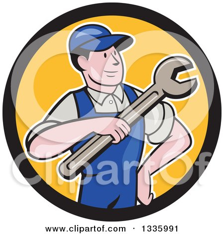 Clipart of a Cartoon Proud White Male Mechanic Holding a Wrench in a Black and Yellow Circle - Royalty Free Vector Illustration by patrimonio