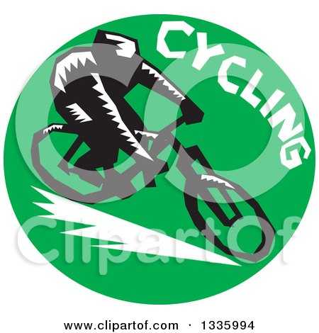Clipart of a Retro Woodcut Cyclist with Text in a Green Circle - Royalty Free Vector Illustration by patrimonio