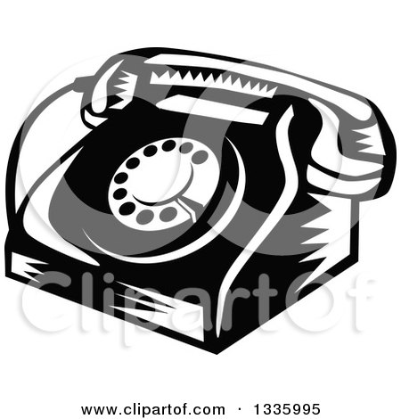 Clipart of a Retro Woodcut Black and White Rotary Landline Desk Telephone - Royalty Free Vector Illustration by patrimonio