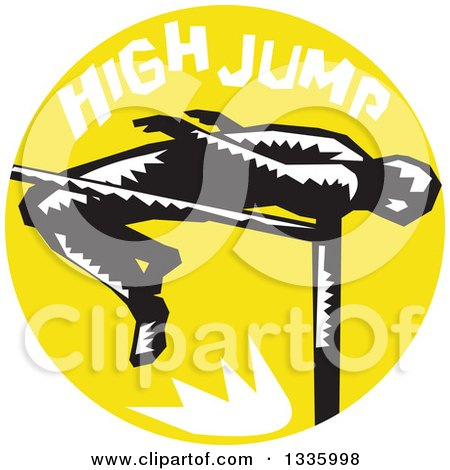 Clipart of a Retro Black and White Woodcut Male Track and Field Athlete High Jumping, with Text in a Yellow Circle - Royalty Free Vector Illustration by patrimonio