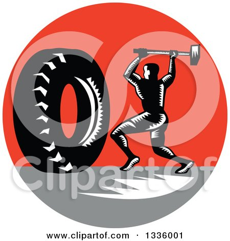 Clipart of a Retro Black and White Woodcut Athlete Swinging a Sledgehammer at a Giant Tire in a Red and Gray Circle - Royalty Free Vector Illustration by patrimonio