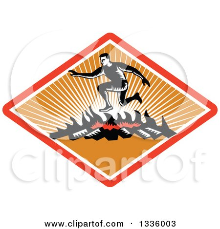 Retro Black and White Woodcut Man Jumping over a Fire in an Obstacle Course Inside a Red White and Orange Ray Diamond Posters, Art Prints
