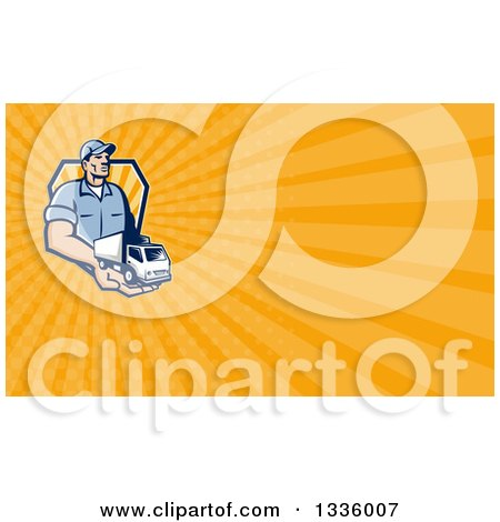 Clipart of a Retro Delivery Man Holding a Truck in His Hand and Orange Rays Background or Business Card Design - Royalty Free Illustration by patrimonio