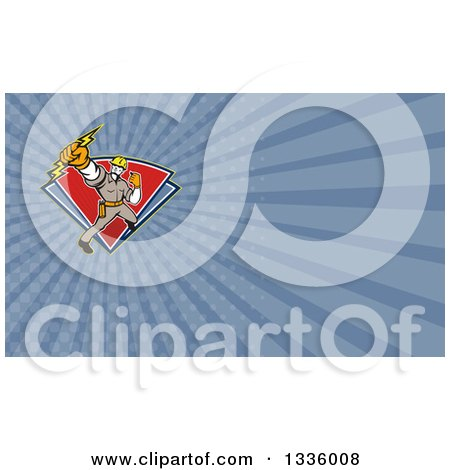 Clipart of a Retro Electrician Holding up a Fist and Bolt and Blue Rays Background or Business Card Design - Royalty Free Illustration by patrimonio