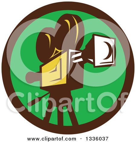 Clipart of a Retro Film Movie Camera in a Brown and Green Circle - Royalty Free Vector Illustration by patrimonio