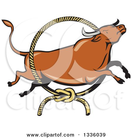 Clipart of a Cartoon Texas Longhorn Steer Bull Leaping Through a Rodeo Lasso - Royalty Free Vector Illustration by patrimonio