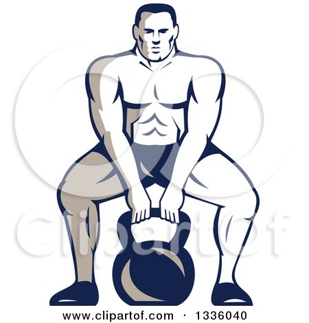 Clipart of a Retro Muscular Male Bodybuilder Athlete Squatting with a Kettlebell - Royalty Free Vector Illustration by patrimonio