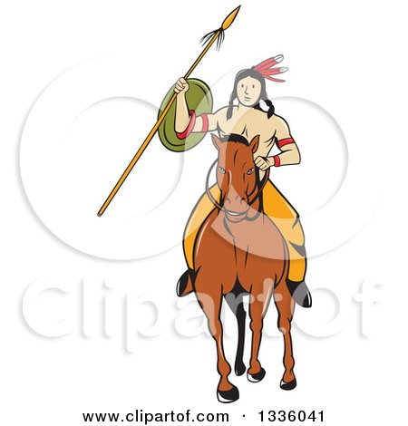 Clipart of a Cartoon Native American Indian Brave Holding a Spear and Shield on Horseback - Royalty Free Vector Illustration by patrimonio