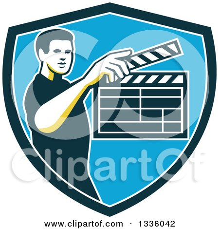 Clipart of a Retro Male Movie Director Holding up a Clapperboard in a Green White and Blue Shield - Royalty Free Vector Illustration by patrimonio