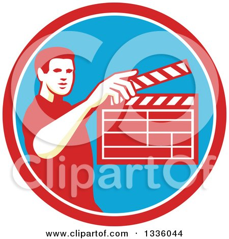 Clipart of a Retro Male Movie Director Holding up a Clapperboard in a Red White and Blue Circle - Royalty Free Vector Illustration by patrimonio