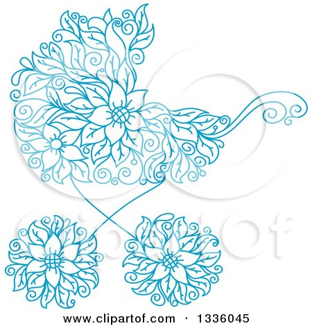 Clipart of a Blue Floral Baby Carriage Stroller Pram - Royalty Free Vector Illustration by Vector Tradition SM