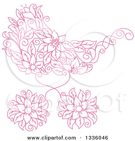 Clipart of a Pink Floral Baby Carriage Stroller Pram - Royalty Free Vector Illustration by Vector Tradition SM