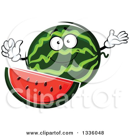 Clipart of a Cartoon Watermelon Character Presenting and Giving a Thumb up - Royalty Free Vector Illustration by Vector Tradition SM